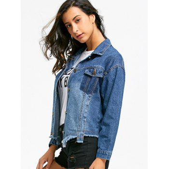 Flap Pockets Raw Hem Denim Jacket - DENIM BLUE XL
