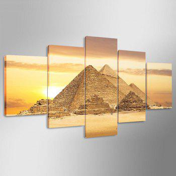 Egyptian Pyramids Pattern Unframed Canvas Paintings - GOLDEN 1PC:12*31,2PCS:12*16,2PCS:12*24 INCH( NO FRAME )