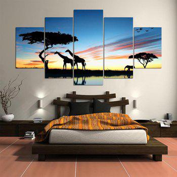 Grassland Giraffes Pattern Unframed Canvas Painting - COLORFUL COLORFUL