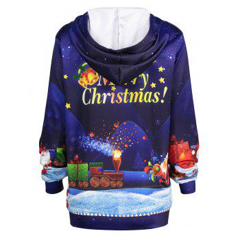 Plus Size Father Christmas Sky Printed Hoodie - BLUE 4XL