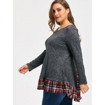 Plus Size Marled Plaid Long Sleeve Top - HEATHER GRAY 4XL