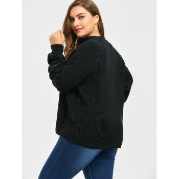 Plus Size Choker V Neck Zipper Sleeve Sweater - 4XL 4XL