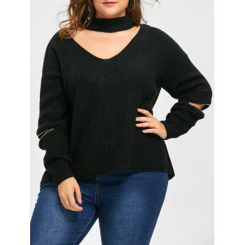 Plus Size Choker V Neck Zipper Sleeve Sweater - BLACK 4XL