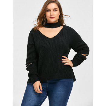 Plus Size Choker V Neck Zipper Sleeve Sweater - 5XL 5XL