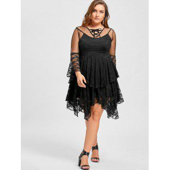 Plus Size Sheer Ruffles Tiered Lace Gothic Dress - BLACK XL
