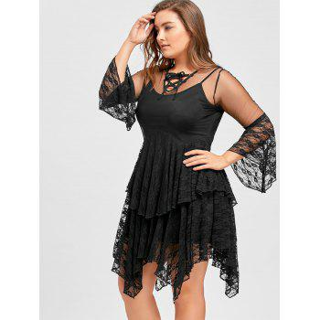 Plus Size Sheer Ruffles Tiered Lace Gothic Dress - BLACK 5XL