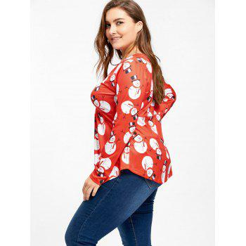 Christmas Snowman Ruched Plus Size T-shirt - RED 2XL