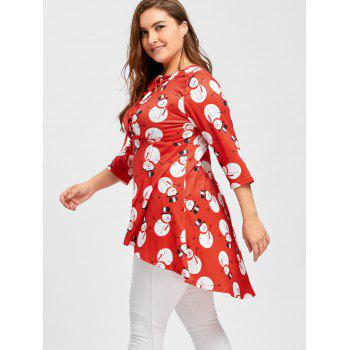 Christmas Snowman Lace Up High Low Plus Size Tee - RED 4XL