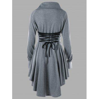 Plus Size Long Sleeve Lace Up Skater Dress - GRAY GRAY