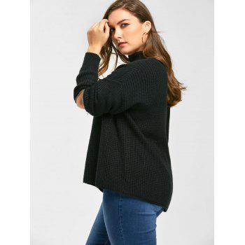 Plus Size Choker V Neck Zipper Sleeve Sweater - BLACK XL
