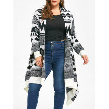 Plus Size Monochrome Geometric Cardigan - WHITE AND BLACK WHITE/BLACK