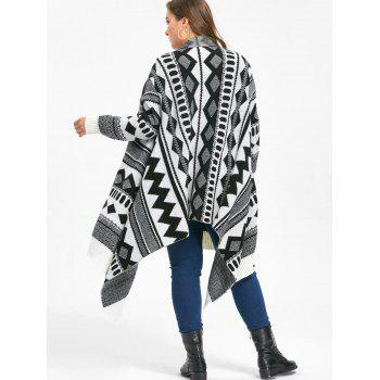 Plus Size Monochrome Geometric Cardigan - WHITE/BLACK WHITE/BLACK