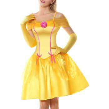 Off Shoulder Holiday Princess Costume Dress - YELLOW YELLOW