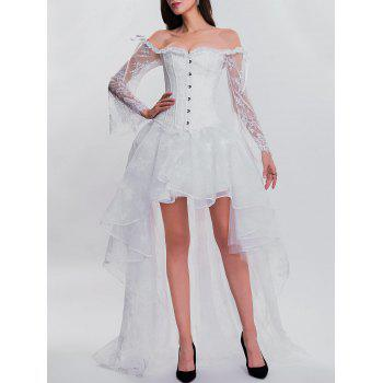 High Low Two Piece Corset Dress - WHITE S