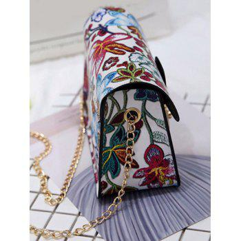 Chain Floral Crossbody Bag - WHITE