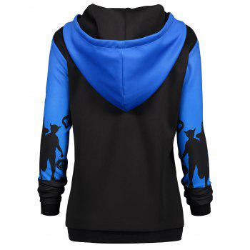 Plus Size Halloween Moon Bat Print Hoodie with Pocket - BLUE 2XL