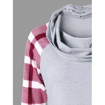 Kangaroo Pocket Cowl Neck Top - GRAY/RED M