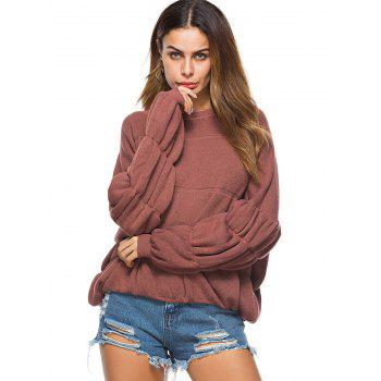 Puff Sleeve Crew Neck Sweater - BRICK RED ONE SIZE