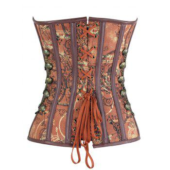 Vintage Lace-up Chains Buttoned Corset - BROWN BROWN