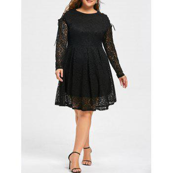 Plus Size Drop Shoulder Long Sleeve Lace Dress - BLACK BLACK