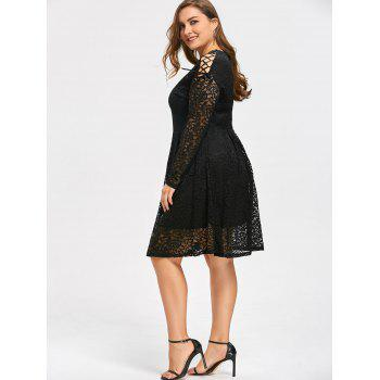 Plus Size Drop Shoulder Long Sleeve Lace Dress - BLACK 3XL