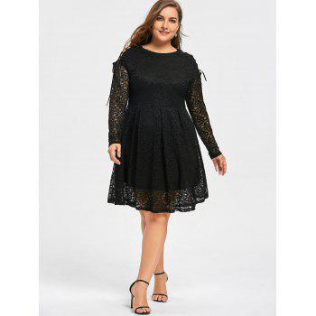 Plus Size Drop Shoulder Long Sleeve Lace Dress - BLACK 2XL