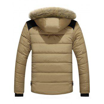 Zip Up Faux-fur Hooded Puffer Jacket - KHAKI 4XL