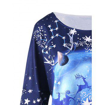 Christmas Plus Size Star Dip Hem Top - DEEP BLUE 3XL