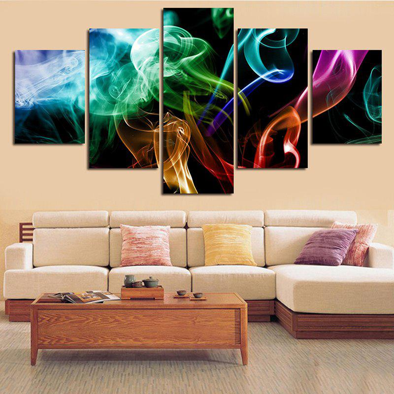Colorful Smoke Print Split Unframed Canvas Paintings seaside sunset sandbeach printed split unframed canvas paintings