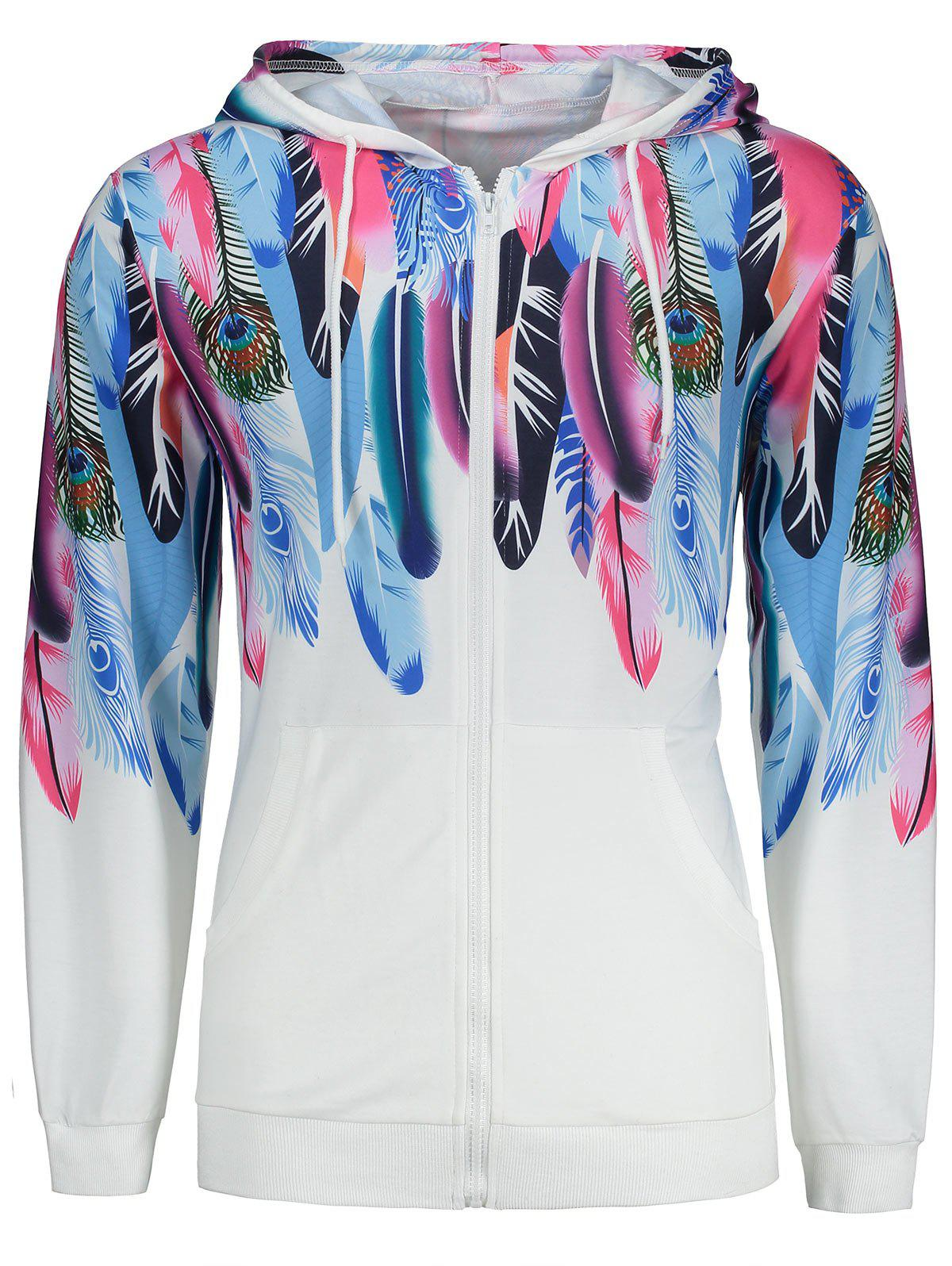 Pocket Design Peacock Feather Zippered Hoodie side pocket constrast color patchwork zippered hoodie