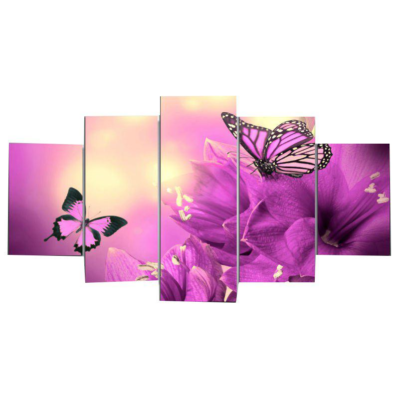 Flowers Butterflies Split Unframed Print Paintings - PURPLE 1PC:12*31,2PCS:12*16,2PCS:12*24 INCH( NO FRAME )