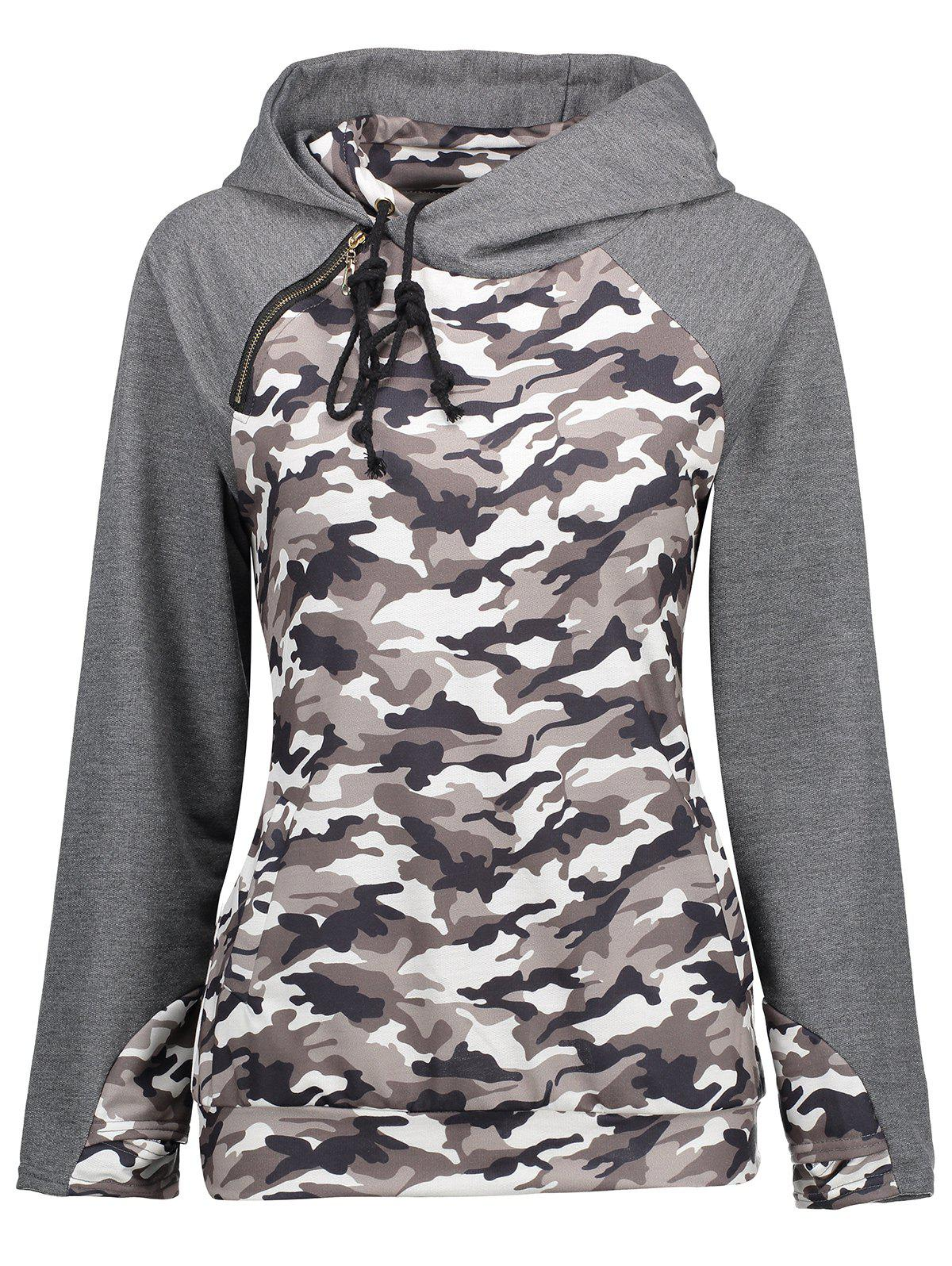 Camouflage Raglan Sleeve Hoodie with Pockets - COLORMIX XL