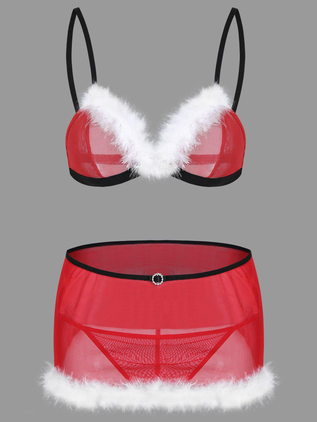 Mesh Feather Christmas Bralette Costume - RED ONE SIZE