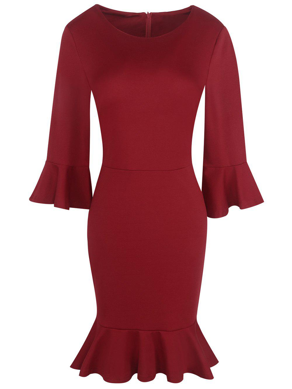Flare Sleeve Formal Mermaid Dress - DARK RED M