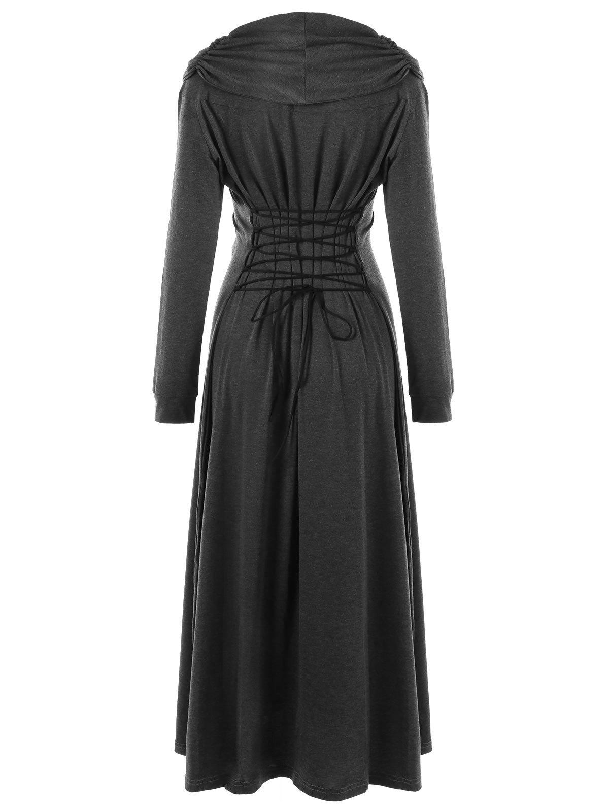 Lace Insert Lace Up Maxi Dress - DEEP GRAY M