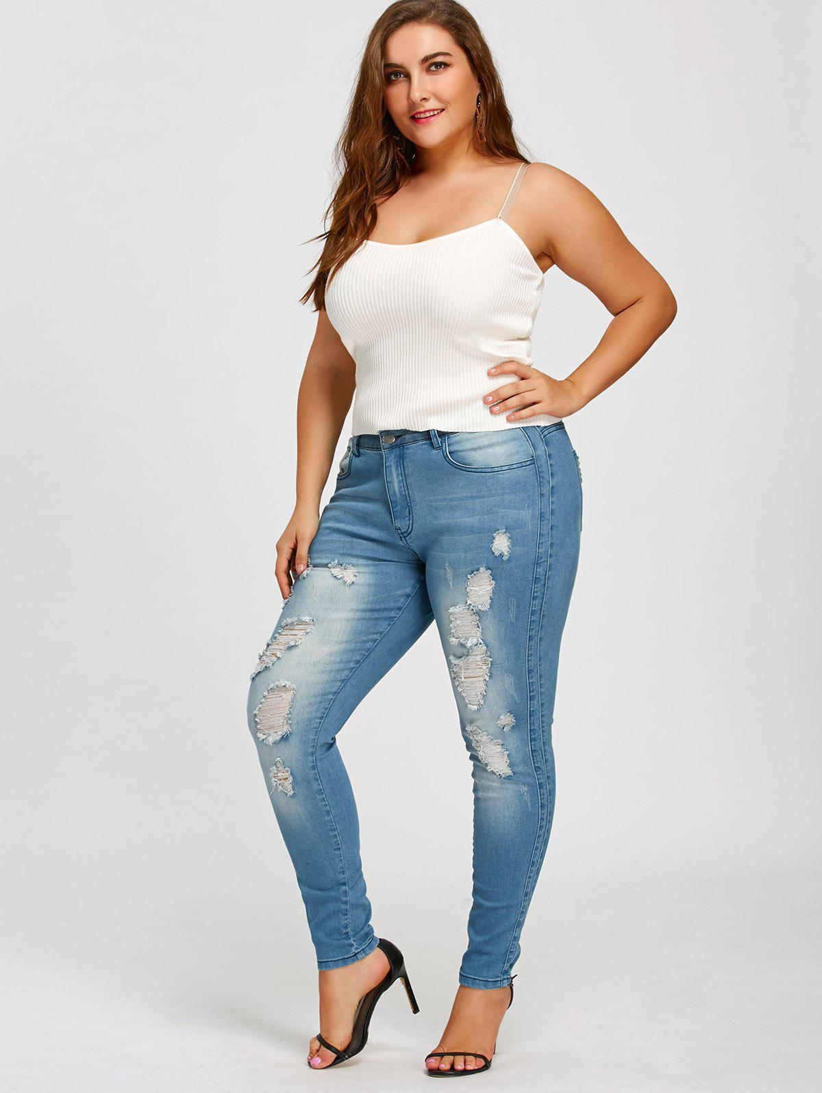 Plus Size Slim Fitted Ripped Jeans - BLUE 3XL