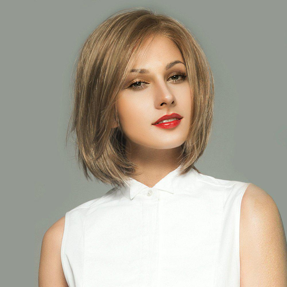 Short Side Parting Straight Bob Lace Front Real Human Hair Wig - LIGHT CHOCOLATE