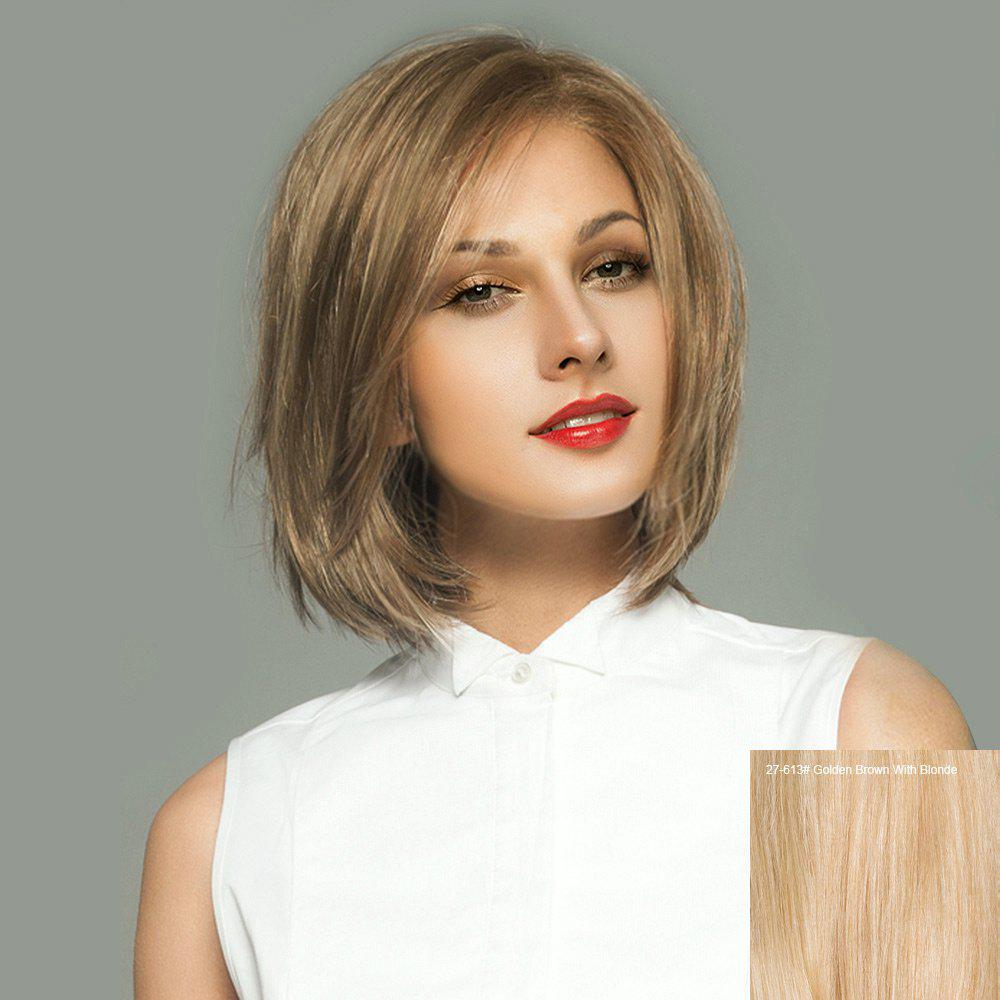 Short Side Parting Straight Bob Lace Front Real Human Hair Wig - GOLDEN BROWN/BLONDE