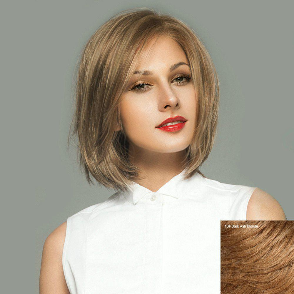 Short Side Parting Straight Bob Lace Front Real Human Hair Wig short colormix side parting straight bob human hair wig