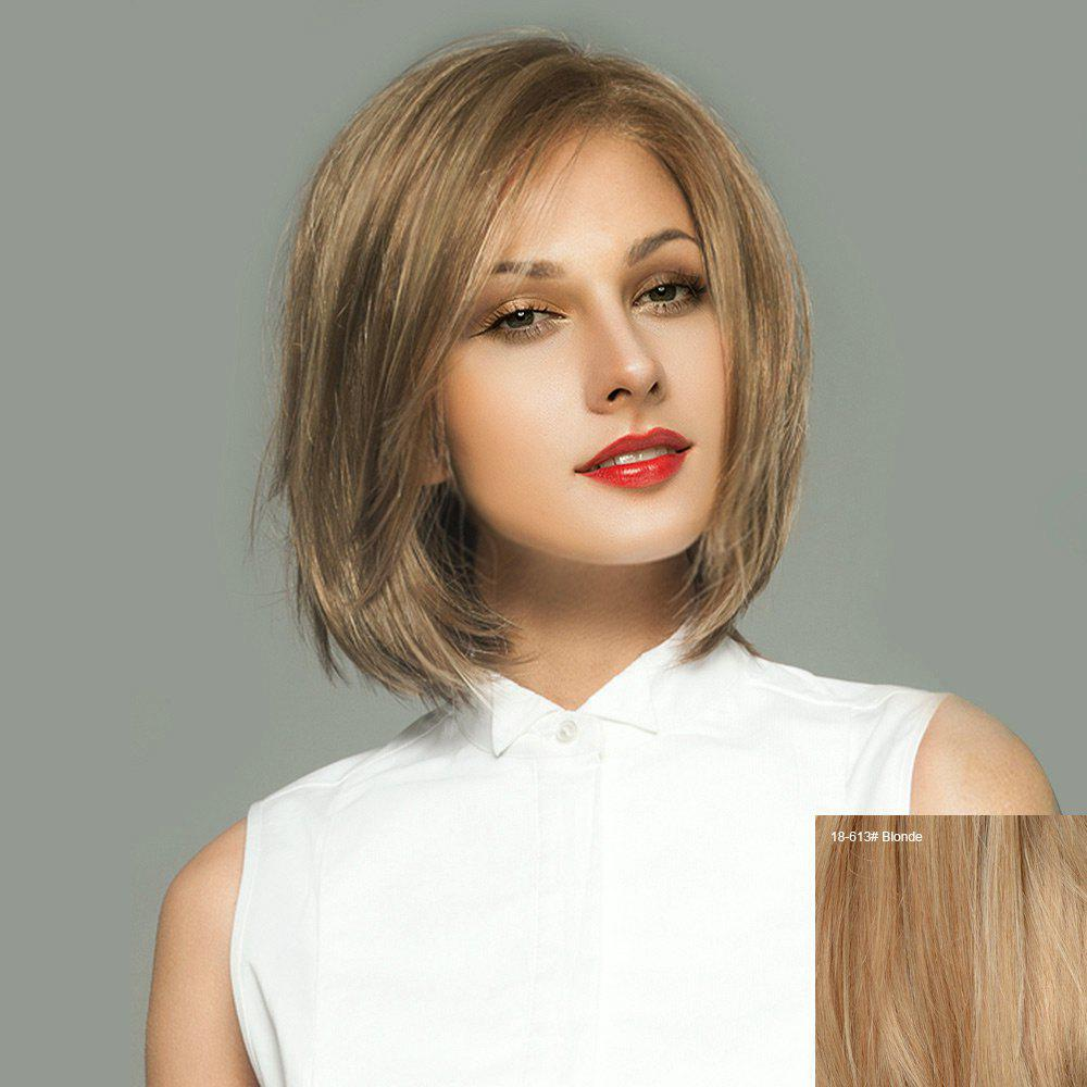Short Side Parting Straight Bob Lace Front Real Human Hair Wig - BLONDE