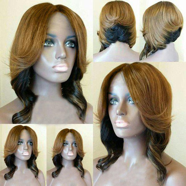 Center Parting Short Layered Wavy Feathered Bob Synthetic Wig long center parting layered wavy synthetic party wig