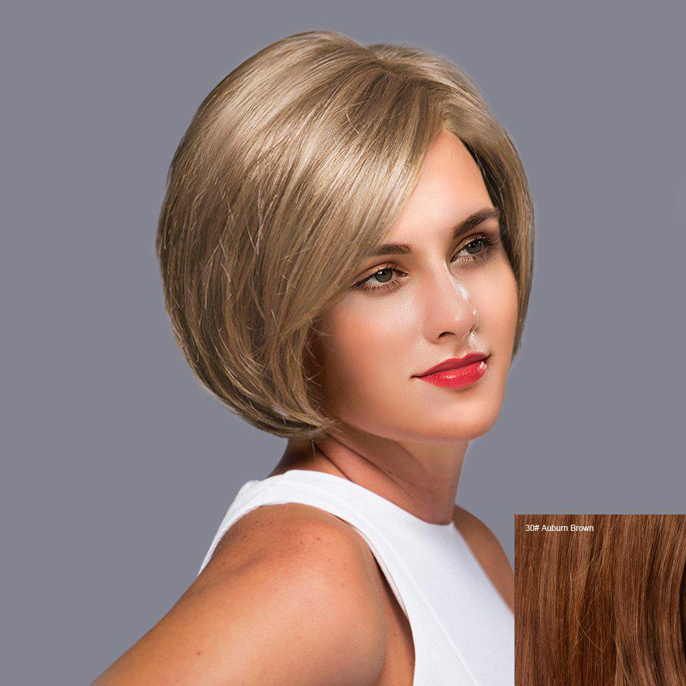 Side Part Short Straight Bob Lace Front Human Hair Wig - AUBURN BROWN