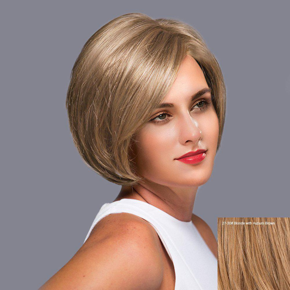 Side Part Short Straight Bob Lace Front Human Hair Wig - BLONDE/AUBURN BROWN