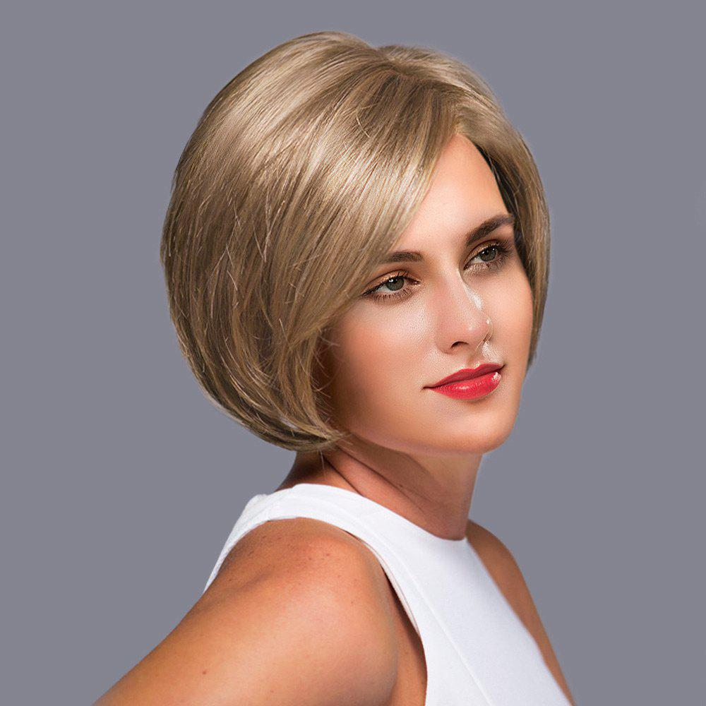 Side Part Short Straight Bob Lace Front Human Hair Wig - LIGHT CHOCOLATE