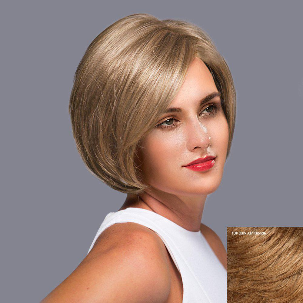 Side Part Short Straight Bob Lace Front Human Hair Wig - DARK ASH BROWN
