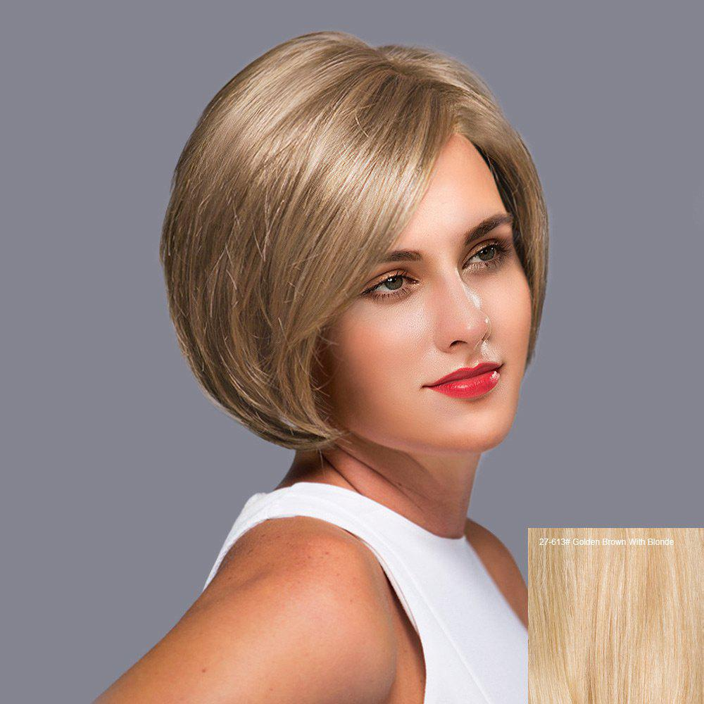 Side Part Short Straight Bob Lace Front perruque de cheveux humains - Brun d'Or avec Blonde
