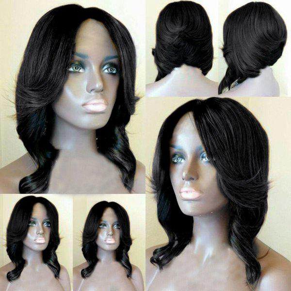 Center Parting Short Layered Wavy Feathered Bob Synthetic Wig - BLACK