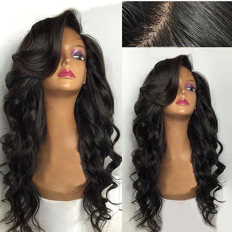 Deep Side Parting Long Loose Wave Lace Front Human Hair Wig - NATURAL BLACK