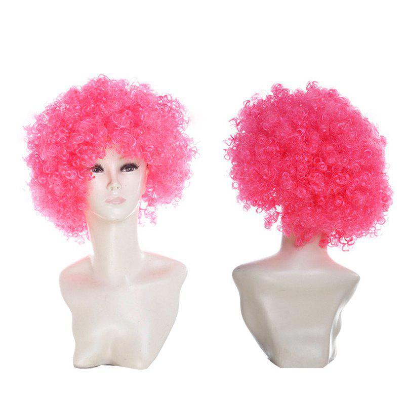 Fluffy Afro Curly Short Clown Fans Carnival Party Wig - DEEP PINK