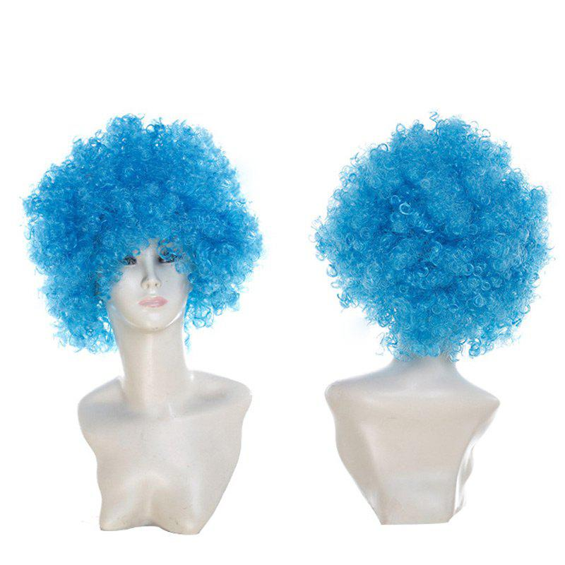 Fluffy Afro Curly Short Clown Fans Carnival Party Wig - WINDSOR BLUE
